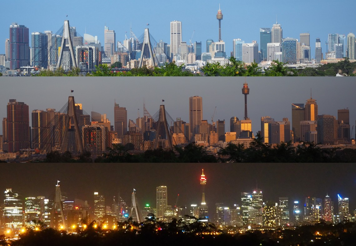 Sydney Skyline, day, dusk and night