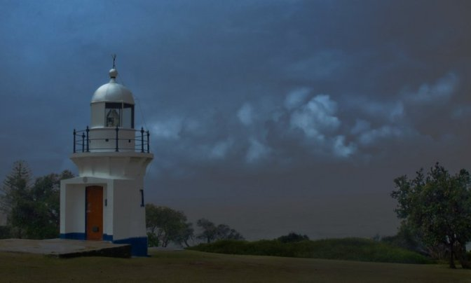 The Richmond River Light in a thunderstorm