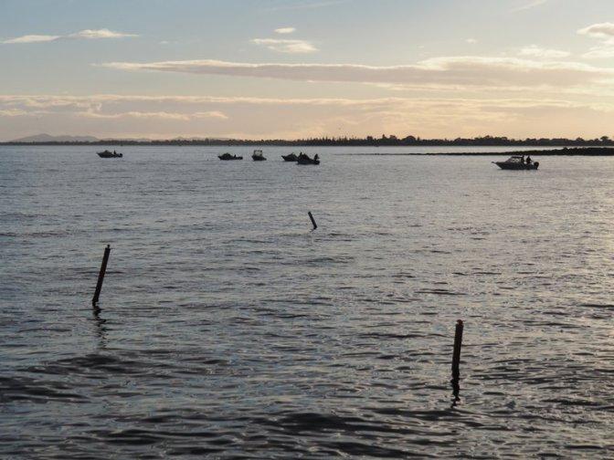 Fishing boats at dusk