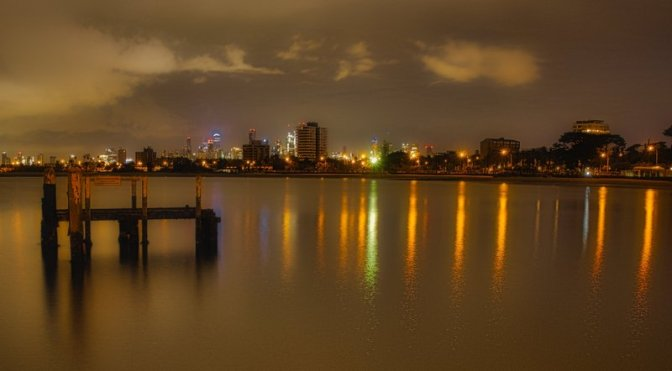 Melbourne from St Kilda Pier before dawn