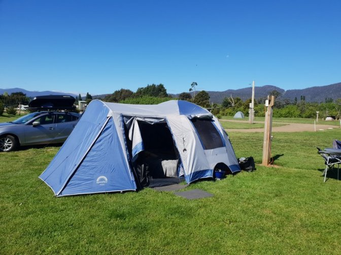 Our tent and Mazda