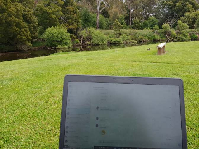 Working by the banks of the river