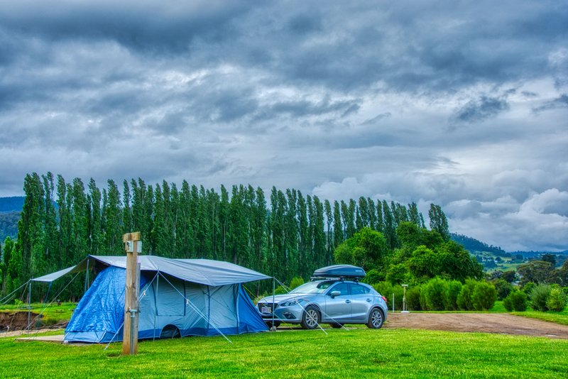 Camping under a stormy sky