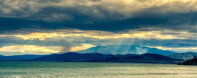 Storm Clouds and Smoke over Hobart