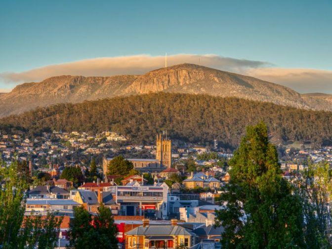 Sunrise over Hobart and Mt Wellington